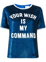 Ashish 'Your Wish Is My Command' Sequin T Shirt Women Silk S Blue