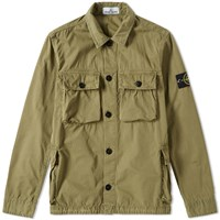Stone Island Garment Dyed Four Pocket Shirt Jacket Green