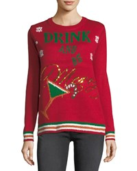 Chelsea And Theodore Drink Be Merry Crewneck Sweater Red