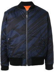 Band Of Outsiders Spaceship Striped Bomber Jacket Blue