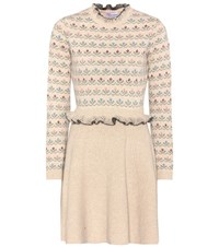 Red Valentino Wool Blend Knitted Dress Beige