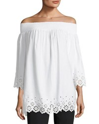 Tahari By Arthur S. Levine Eyelet Trim Off The Shoulder Blouse Ivory