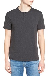 Original Penguin Men's Bing Slim Fit Henley T Shirt Dark Charcoal Heather