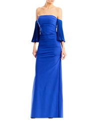 Nicole Miller Techy Crepe Pleated Sleeve Ruched Gown Blueberry