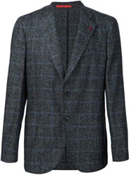 Isaia Checked Blazer Grey