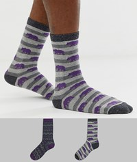 Totes 2 Pack Cracker Sock Set In Purple