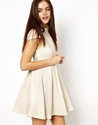 Ginger Fizz High Neck Lace Keyhole Skater Dress Cream