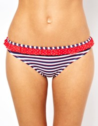 Marie Meili Stripe And Spot Mix Hipster Bikini Bottom Red