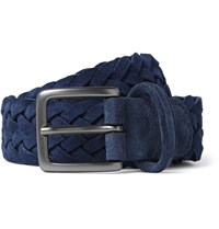 Andersons 3.5Cm Navy Woven Suede Belt Blue