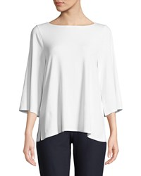 Eileen Fisher 3 4 Sleeve Bateau Neck Jersey Top Plus Size White