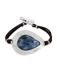 Robert Lee Morris Cool As Ice Sodalite And Leather Toggle Bracelet Blue