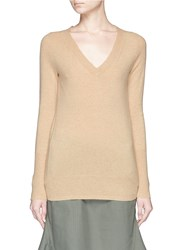 J.Crew Collection Cashmere V Neck Sweater Neutral