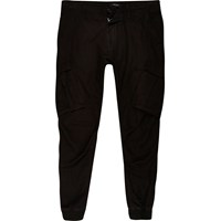 River Island Big And Tall Black Cargo Tapered Joggers