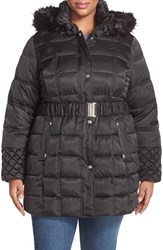 Plus Size Women's Betsey Johnson Belted Coat With Faux Fur Trim Hood Black