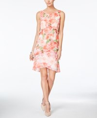 Styleandco. Style And Co. Tiered Tulip Printed Chiffon Dress Only At Macy's Blush Floral