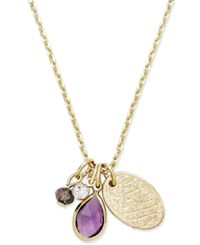 Macy's Inspired Life Gold Tone Multi Charm Stone Pendant Necklace Purple