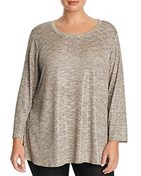 Nally And Millie Plus Long Sleeve High Low Tunic Gold