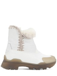 Mou 50Mm Leather And Rubber Eskimo Boots White