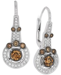 Le Vian Chocolatier Chocolate Deco Estate Vanilla And Chocolate Diamond Earrings 1 Ct. T.W. In 14K White Gold