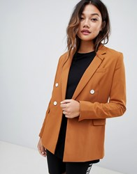 Bershka Double Breasted Blazer Beige