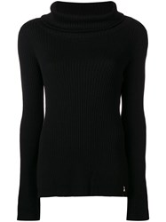 Patrizia Pepe Ribbed Roll Neck Jumper Black