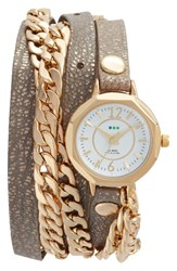 La Mer Women's Collections Leather And Chain Wrap Watch 35Mm