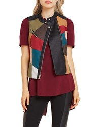 Bcbgeneration Patched Faux Leather Moto Vest Multi Color