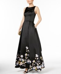 Betsy And Adam Lace Up Satin Gown Black Multi