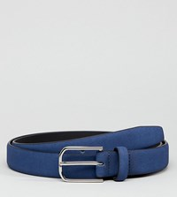 Asos Design Plus Smart Faux Leather Slim Belt In Navy With Silver Buckle