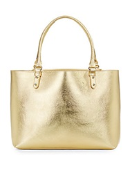 Badgley Mischka Fleur Metallic Leather Tote Gold