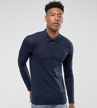 Selected Homme Slim Long Sleeve Polo In Mercerised Cotton Navy