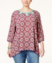 Eyeshadow Plus Size Printed With Cutouts Blouse Red Multi