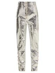 Hillier Bartley Crackle Coated Metallic Trousers Silver