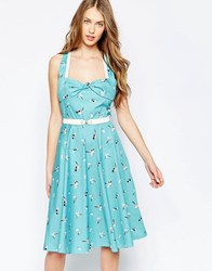 Trollied Dolly Rock Around The Clock Dress Turquoise Banjo