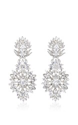 Ben Amun Silver Crystal Large Clip Earrings