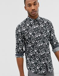 Ted Baker Long Sleeve Linen Shirt With Floral Print Black
