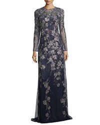 David Meister Long Sleeve Metallic Floral Gown Navy