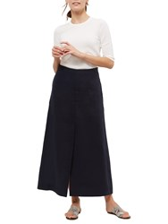 Jaeger Linen Split Detail Maxi Skirt Navy