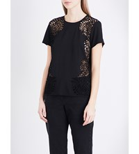 French Connection Gilly Woven Top Black