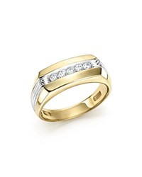 Bloomingdale's Men's Diamond Five Stone Ring In 14K Yellow And White Gold 0.25 Ct. T.W. White Gold