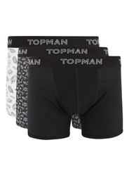 Topman Black Space Doodle Print Trunks 3 Pack