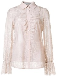 Trina Turk Sheer Lace Shirt Nude Neutrals