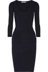 James Perse Ruched Stretch Cotton Jersey Dress Midnight Blue