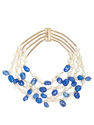Rosantica By Michela Panero Kiwi Pearl And Lapis Necklace Blue