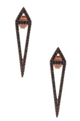 Amorium Rose Gold Plated Sterling Silver Black Cz Aria Earrings