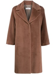 Peserico Concealed Front Coat Brown