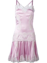 Dolce And Gabbana Lace Panel Sleeveless Dress Pink And Purple