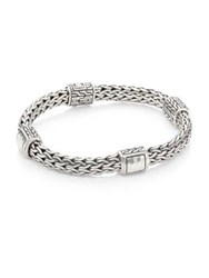John Hardy Classic Chain Hammered Silver Medium Four Station Bracelet