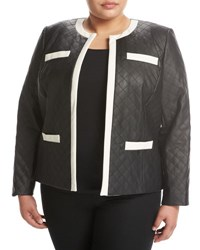 Tahari Asl Plus Quilted Faux Leather Jacket Black White