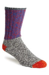 Woolrich Colorblock Merino Wool Blend Socks Blue Flame